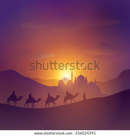Desert arabic landscape with mosque arabian and camel for islamic banner background - stock vector