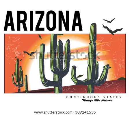 desert arizona cactus illustration for apparel - stock vector