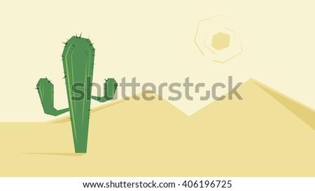 Desert, cactus, dunes and sun - stock vector