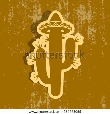 Desert cactus silhouette with sombrero grunge design - stock vector
