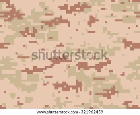 Desert Camouflage Seamless Pattern Digital Pixelated Texture Three Colors Beige