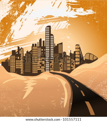 desert city - stock vector