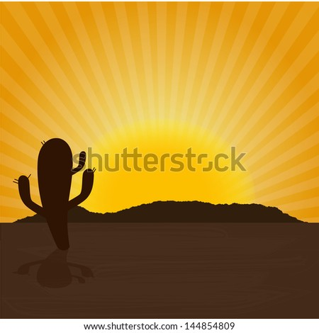 desert design over sunny background vector illustration - stock vector