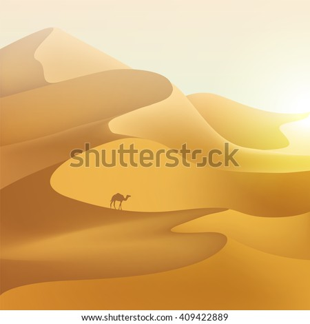 Desert dunes sunset landscape. - stock vector