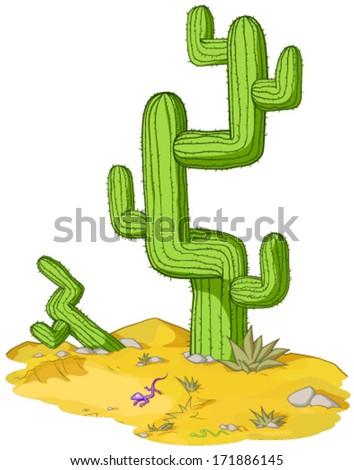 Desert environment cactus cartoon, vector, isolated, over white  - stock vector