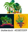 Desert flowers and plants.Exotic plant, bush, palm tree and cactus vector set.Desert potted flowers and plants.Flat illustration of  desert flowers and plants.Houseplants and flowers from desert. - stock vector