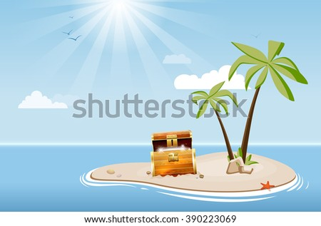 Desert island with palm trees and treasure chest under a blue sky with clouds - vector illustration - stock vector