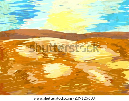 desert landscape background vector - stock vector