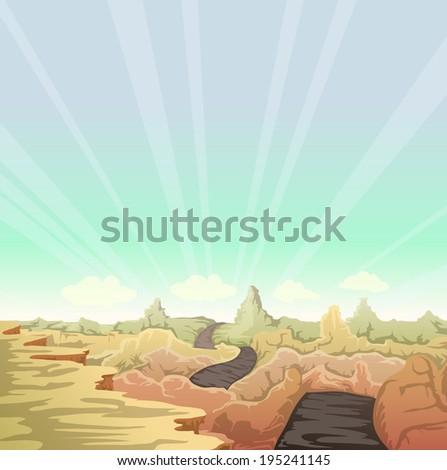 desert landscape cartoon illustration with road - stock vector