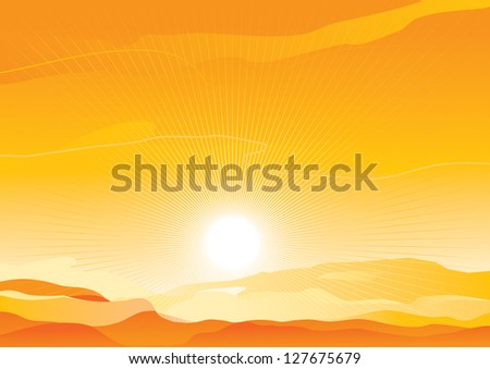 Desert landscape. Vector background of  sunrise in sand desert - stock vector