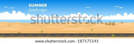 Desert landscape. Vector illustration - stock vector