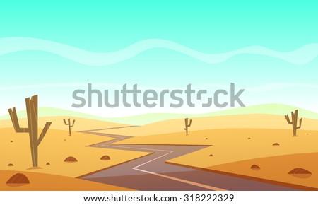 Desert landscape with asphalt road, cartoon vector illustration. - stock vector