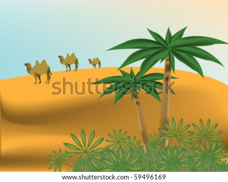 Desert landscape with oasis and caravan of camels - stock vector