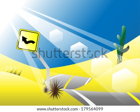 Desert Road Vector background - stock vector