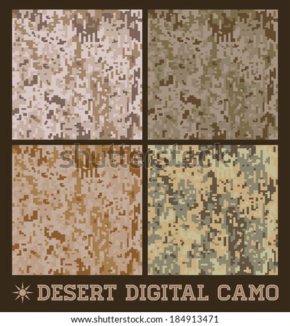 Desert - Seamless vector digital Camouflage collection - stock vector