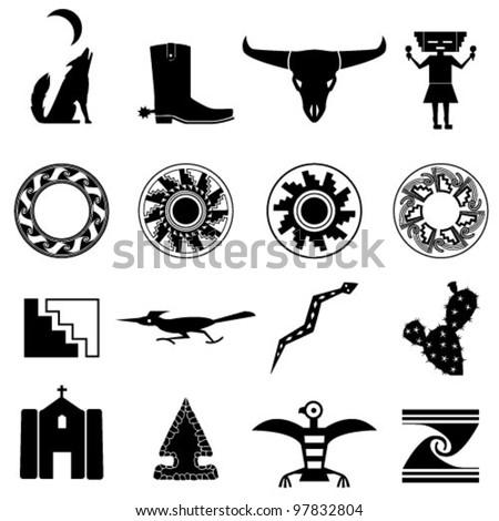 Desert Southwest Icons Stock Vector 97832804 Shutterstock