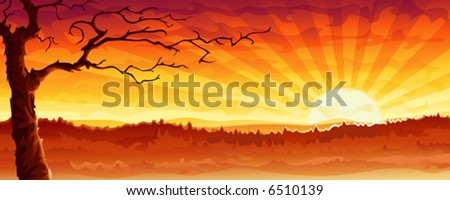 "Desert tree. This is a more lifeless variation of my previous work ""Big city sunset panorama"". Other landscapes are in my gallery. - stock vector"