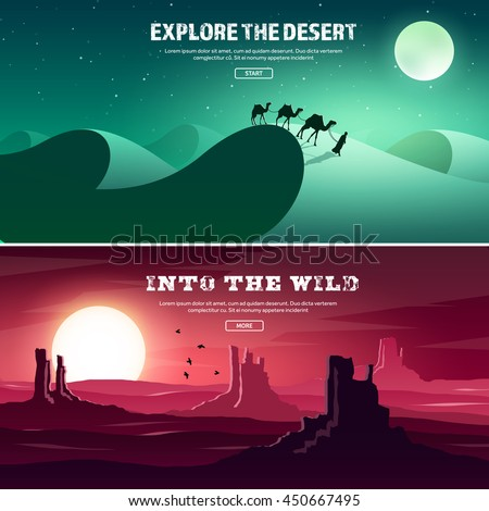 Desert trip. Extreme tourism and travelling. Back to nature. Sands.Exploring Africa. Horizont line with sky,stars. Mountaines, flying birds.Camels. - stock vector
