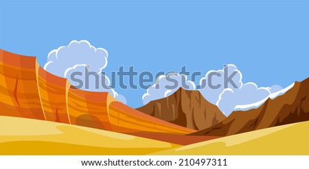 Desert wild nature landscapes with mountains - stock vector