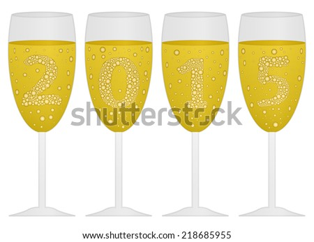 design a background with the date 2015 created with champagne  - stock vector