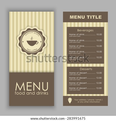 Design a menu for coffee (cafe, bar, restaurant) in vintage style, logo and text. Vector illustration. set - stock vector