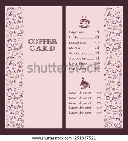 Design a menu for coffee in hand drawing style. Vector illustration. Set.