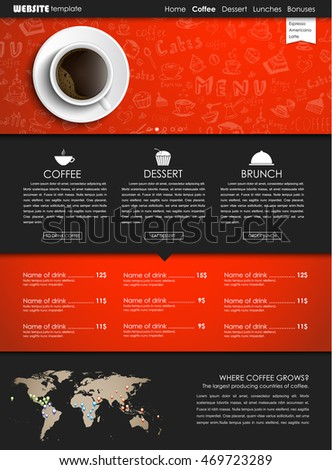 Design a web site with a view from above of a cup of black coffee. Template icons, banners and hand drawings for shops or cafes. Vector illustration