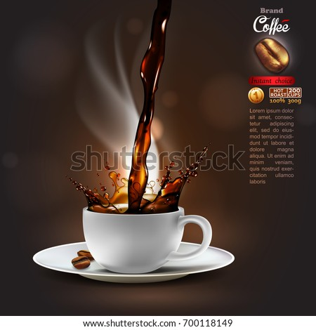 Design advertising coffee with a splash effect and a light trickle steam. high detailed realistic illustration