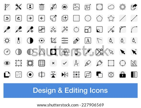 Design and editing icons, vector set - stock vector