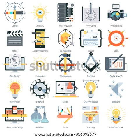 Design and production theme, flat style, colorful, vector icon set for info graphics, websites, mobile and print media. - stock vector