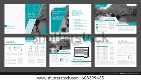 Design annual report,vector template brochures, flyers, presentations, leaflet, magazine a4 size. Green geometric elements on a white background. - stock vector
