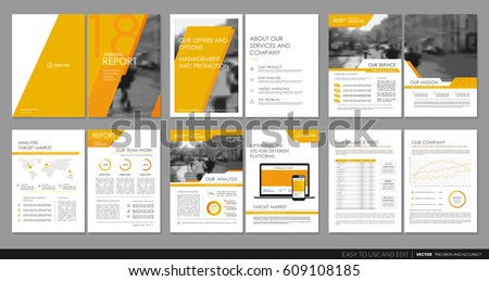 Design annual report,vector template brochures, flyers, presentations, leaflet, magazine a4 size. Orange geometric elements on a white background. - stock vector