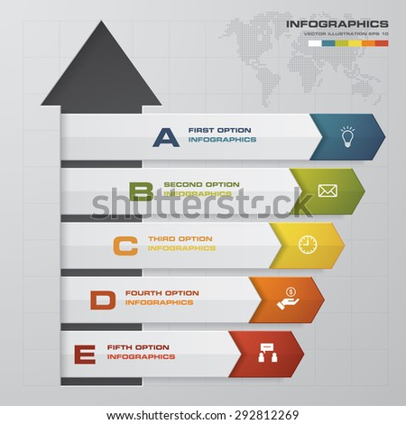 Design arrow number banners template/graphic or website layout. 5 steps chart . - stock vector