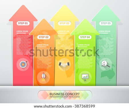 Design arrows infographics 5 steps. Vector illustration. can be used for workflow layout, diagram, number options, graphic or website layout. - stock vector
