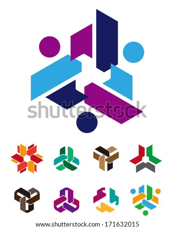 Design arrows logo element. Cross people hand icon. Abstract circle pattern. Colorful icons set. You can use in the kids, toy, communications, electronics, social media, or creative design concepts.  - stock vector