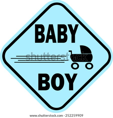 design baby boy sign with carriage - stock vector