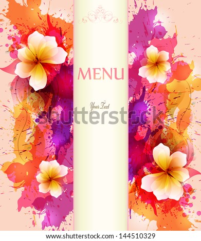 Design background with hand drawn vintage flowers and colorful blots. Vector design - stock vector