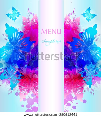Design background with hand drawn vintage flowers and colorful butterflies. Vector design - stock vector