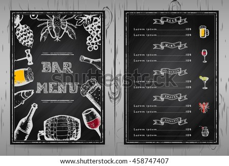 Design Bar Menu Template Restaurant Menu Stock Vector