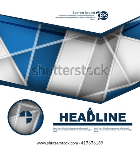 design brochure leaflet with intersecting lines flat layout background material. eps10 vector - stock vector