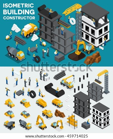 Design building isometric view, create your own design, building construction, excavation, heavy equipment, trucks, construction workers, people, uniform blocks, piles. Vector illustration - stock vector