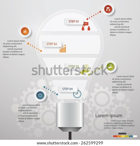 Design Business Chart 5 Steps Diagram in Light Bulb Shape. Simple&Editable Vector. - stock vector