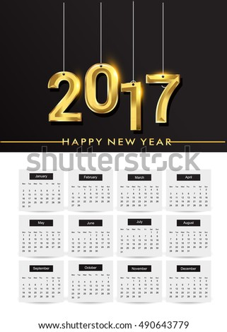 Design Calendar for 2017 on white background, text design gold colored.