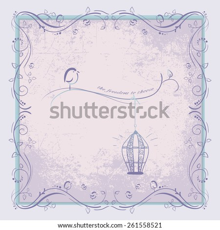 Design cards. Floral frame with bird and cage - stock vector