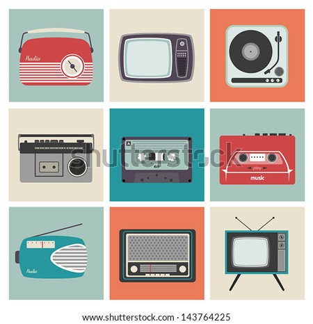Design Cards with Vintage Electronic Equipment - stock vector