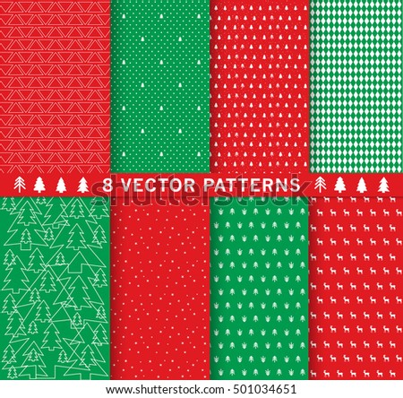 Design 8 Chic different vector patterns. Texture can be used for printing onto fabric and paper or scrap booking, invitation card. Christmas background, Vector EPS10.