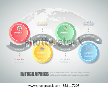 Design circle infographic 4 steps. can be used for workflow layout, diagram, number options, bussiness concept - stock vector