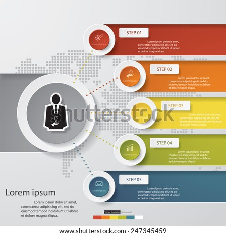 Design clean number banners template/graphic or website layout. 5 steps chart . Vector. - stock vector