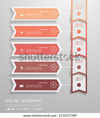 Design clean timeline infographic for business design, reports, step presentation, number options, progress, workflow layout  - stock vector