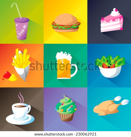 Design collection menu set: tumbler, hamburger, cheese-cake, french fries, beer, green salad with tomatoes and corn, coffee, cup-cake and a roast chicken, with long shadow on a colorful background - stock vector